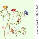 abstract vector tree with birds.   Shutterstock .eps vector #50724466