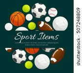 sport balls and gaming items... | Shutterstock .eps vector #507248809