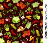 vegetables vector seamless...   Shutterstock .eps vector #507248890