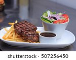grass fed rump steak with salad ... | Shutterstock . vector #507256450