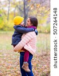 mother with young son on hands... | Shutterstock . vector #507264148