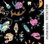 old school tattoos seamless... | Shutterstock .eps vector #507267340