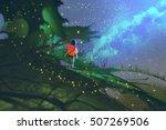 little boy standing on giant... | Shutterstock . vector #507269506
