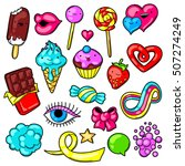 set of kawaii sweets and... | Shutterstock .eps vector #507274249
