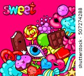 kawaii background with sweets... | Shutterstock .eps vector #507274288