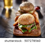 gourmet burgers with fries and... | Shutterstock . vector #507278560