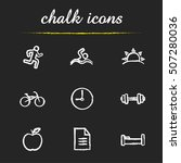 Healthy Lifestyle Chalk Icons...