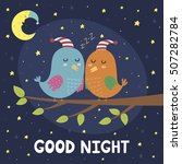 good night card with cute... | Shutterstock .eps vector #507282784