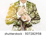 double exposure businessman in... | Shutterstock . vector #507282958