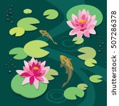 Pink Lotus And Koi Fish In The...