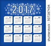 2017 blue calendar with... | Shutterstock .eps vector #507287434