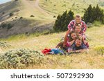 happy family of four people... | Shutterstock . vector #507292930