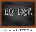 Small photo of AD HOC hand writing chalk text on black chalkboard