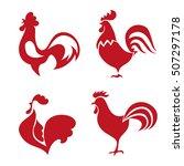 red roosters logo set. vector... | Shutterstock .eps vector #507297178
