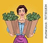 pop art happy rich woman... | Shutterstock .eps vector #507301834