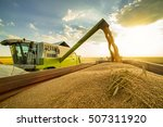 combine harvester in action on... | Shutterstock . vector #507311920