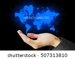Small photo of hand touch affinity analysis technology background