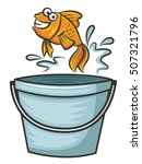 goldfish jumping from bucket... | Shutterstock .eps vector #507321796