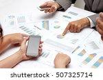 human hands of group coworkers... | Shutterstock . vector #507325714