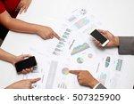 human hands of group coworkers... | Shutterstock . vector #507325900