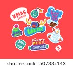 set of christmas stickers.... | Shutterstock .eps vector #507335143