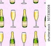 seamless pattern champagne...   Shutterstock .eps vector #507338308