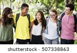 diverse group young people... | Shutterstock . vector #507338863