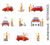 car repair workshop services... | Shutterstock .eps vector #507343423