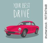 red retro sport car isolated.... | Shutterstock .eps vector #507347668