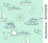 nautical seamless pattern. hand ... | Shutterstock . vector #507356050