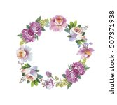 wildflower rose flower wreath... | Shutterstock . vector #507371938