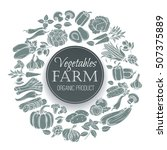 vector vegetables round banner. ... | Shutterstock .eps vector #507375889