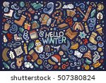 colorful vector hand drawn... | Shutterstock .eps vector #507380824