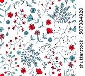 hand drawn vintage floral... | Shutterstock .eps vector #507384820