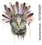 american indian cat graphic   Shutterstock . vector #507384889