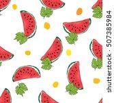 water melon hand drawn seamless ... | Shutterstock . vector #507385984