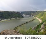 Small photo of Picturesque landscape of Middle Rhine river. View from above from Lorelei rocks at St. Goarshausen, Katz Castle. The Rhine Gorge (Upper Middle Rhine Valley) in Germany is UNESCO World Heritage Site