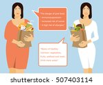 fat woman and slim young woman... | Shutterstock .eps vector #507403114