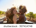 two women standing in the back... | Shutterstock . vector #507414748