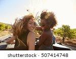 two women standing in the back...   Shutterstock . vector #507414748