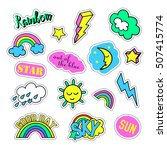 pop art set with fashion patch... | Shutterstock . vector #507415774