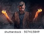 scary burning man with arms in... | Shutterstock . vector #507415849