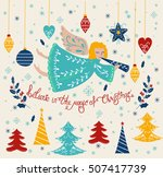 vector christmas card with... | Shutterstock .eps vector #507417739