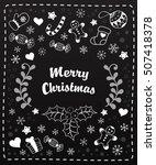 black and white christmas... | Shutterstock .eps vector #507418378