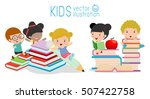 cute kids and books  back to... | Shutterstock .eps vector #507422758