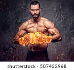 shirtless aggressive fighter... | Shutterstock . vector #507422968