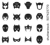 superhero mask set icons in... | Shutterstock .eps vector #507425770