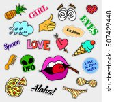 fashion patch badges. big set.... | Shutterstock . vector #507429448