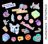 fashion patch badges with... | Shutterstock . vector #507429613