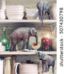 the tiny elephants opens the...   Shutterstock . vector #507430798